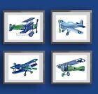 boy airplane nursery art print -blue green children wall airplane bedding decor