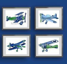 boy airplane nursery art print -blue green children wall airplane bedding decor