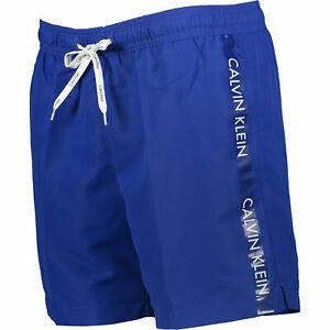 Calvin Klein men Swimming Short, Blue Core Logo Tape Swim Short, M, L