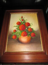 RED FLOWERS WITH VASE OIL PAINTING ON A STRETCHED CANVAS, SIGNED TECLA