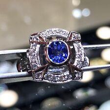 VINTAGE 1.51CT CEYLON Blue Sapphire & Diamond 18K Solid GOLD Engagement Ring