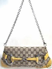 Authentic GUCCI Monogram Horsebit Clutch Bag, Made In ITALY - (RARE)
