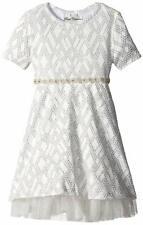 Rare Editions Girls' White/Silver Textured Knit Dress Size 5