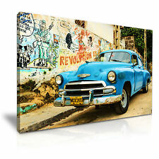 AUTO Retrò all' Avana Cuba Vintage Canvas WALL ART PICTURE PRINT A1 76x50cm