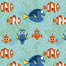 """Disney Finding Dory All Smiles 100% cotton 43"""" fabric by the bolt (15 yards)"""