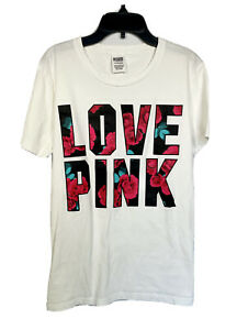 Victoria Secret Pink T Shirt Small Short Sleeve Graphic Tee Roses Logo Love Pink