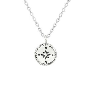 925 Sterling Silver Compass Pendant Necklace Design 3 (45cm / 18 inch)