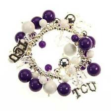 fun! TCU CHARM BEADED STRETCH BRACELET Texas Christian University Horned Frogs