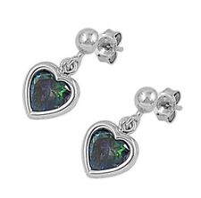 Silver Earrings with Cubic Zirconia Rainbow Topaz CZ Face height 18 mm (0.71 inc