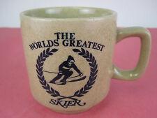 Worlds Greatest SKIER Mug Vintage Coffee Cup. Rare Stoneware Snow Ski
