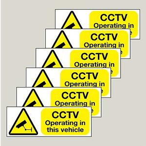 6 x CCTV Operating in this vehicle stickers FREE 1st class P&P cheapest on ebay