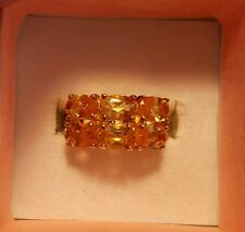 HSN Technibond Faceted Citrine ? 6 Stone Band Ring .925 Vermeil Size 6