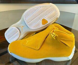 Air Jordan 18 XVIII Retro Yellow Ochre Sail Lux Suede AA2494-701 Men's Size 11