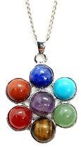 "7 Seven Chakra Flower of Life Gemstone Pendant 18"" Chain Necklace Reiki Healing"