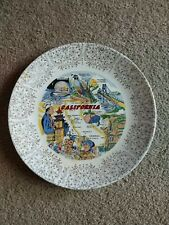 Vintage California Souvenir Plate- scenes from around the state 22K gold trim