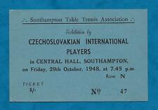1948 TICKET TABLE TENNIS EXHIBITION MATCH CZECHOSLOVAKIAN PLAYERS AT SOUTHAMPTON