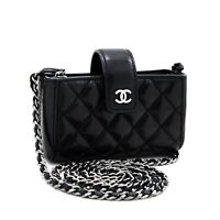 x84 CHANEL Authentic Mini Small Chain Shoulder Bag Black Crossbody Quilted