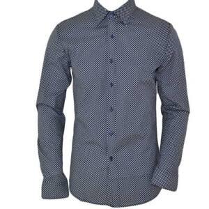 Camicia uomo cotone blu collo rigido manica lunga motivo astratto made in italy