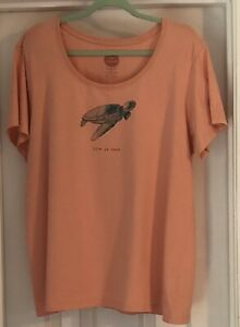 Life Is Good Crusher Tee Sea Turtle Plus Size XXL Peach Color Short Sleeve