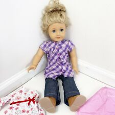 American Girl Doll Blonde Hair Green Eyes Freckles Clothing Carrying Case Lot