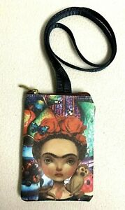 """Frida Kahlo with Monkey Girls Small Shoulder Purse Bag 4"""" x 6"""" Synthetic Lined"""