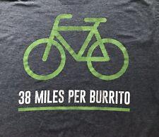 38 Miles Per Burrito Blue Green Shirt Xl Bicycle Cycle Taco