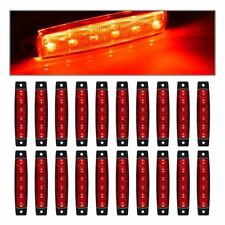"20x Sealed 3.8"" 6LED Side Marker Indicators Light Red Truck Trailer RV Clearance"