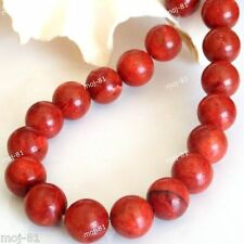"""Real 10mm Natural Round Red Grass Coral Gemstone Loose Beads 15"""""""