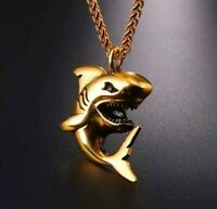 Shark Pendant Necklace 18k Gold Plated Stainless Steel 316L UK