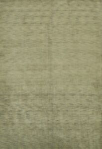 Contemporary Solid Green Modern HandKnotted Gabbeh Indian Oriental Area Rug 9x10