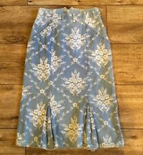 Vintage BENELLON Floral Denim High Waist Skirt 46 Italy Size 10 USA
