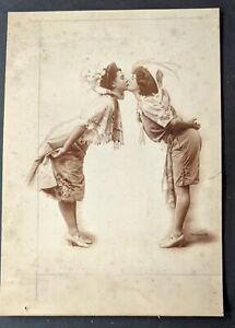 "1900s Actress Kitty Wheaton Two Women Kiss ""Merry Widow"" Oversized Mounted Photo"