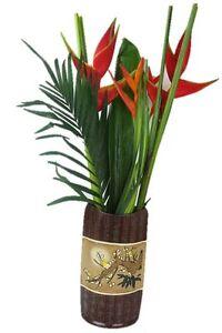 Large 36cm Ceramic Oriental Windowsill Tabletop Flower Vase Wide Mouth