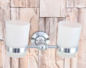 Polished Chrome Toothbrush Holder Double Frosted Glass Cups Holder Wall Mounted