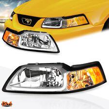 For 99-04 Ford Mustang LED DRL Chrome Housing Amber Corner Headlight/Lamp Pair