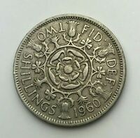 Dated : 1960 - One Florin - 2 Shilling Coin - Queen Elizabeth II - Great Britain