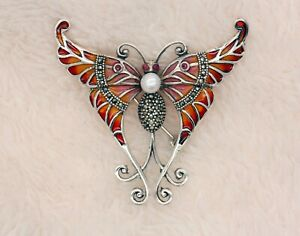 925 Sterling Silver Enamelled Ruby Pearl Marcasite Brooch Butterfly Pendant BR34
