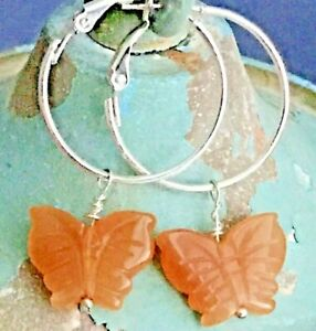 Etched Carnelian Butterfly Silver Lever Back Hoop Earrings. Summer. Nature