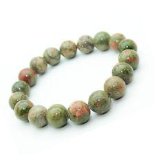 Bracelet Unakite en pierre semi-précieuse perles 10 mm. Pierre Calmante