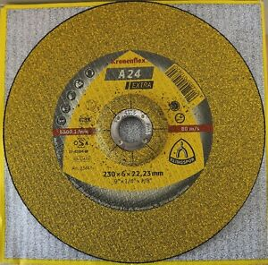 "Klingspor Kronenflex A24 Extra Grinding Discs 230mm x 6mm x 22.23mm / 9"""