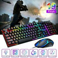 Rainbow LED Backlit Ergonomic USB Wired Gaming Keyboard Mouse Mice For PC Laptop