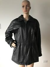 Vintage 1990's Andrew Marc New York Black Leather Coat Jacket Insulated Petite M