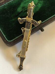 Vintage Novelty Sword Mother Of Pearl Damascene Tie Clip