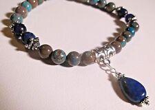 Rainbow Calsilica, Lapis Lazuli Teardrop & Silver Stretch Bracelet Sundance Arti
