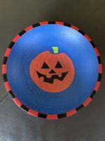 Round Wooden Treat Bowl Painted Folk Art Jack-O-Lantern Halloween Tabletop