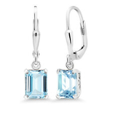 2.80 Ct Octagon Sky Blue Aquamarine 925 Sterling Silver Earrings