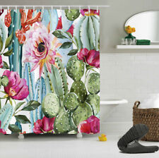 Tropical Cactus Flowers Bathroom Fabric Shower Curtain Set w/12 Hooks 60*72inch