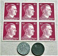 WW2 GERMANY ORIGINAL 3rdREICH ERA BLOCK OF 6 STAMPS + 2 REICHSCOINS AHITLER 40