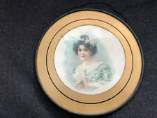 Gorgeous Chimney Flue Cover German Victorian Lady Pretty Round Glass Vintage