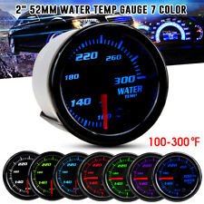 "2"" 52mm Car Water Temp Gauge Thermo 100-300 Fahrenheit Meter 1/8 NPT 7 LED Color"
